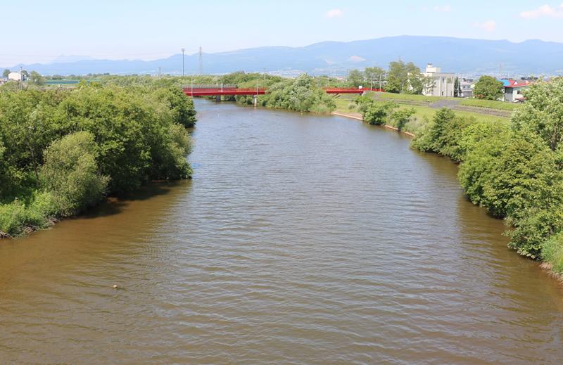大野川河口付近は通称有川と呼ばれている。久根別川は注ぎ込んでいるため黒く濁っている。