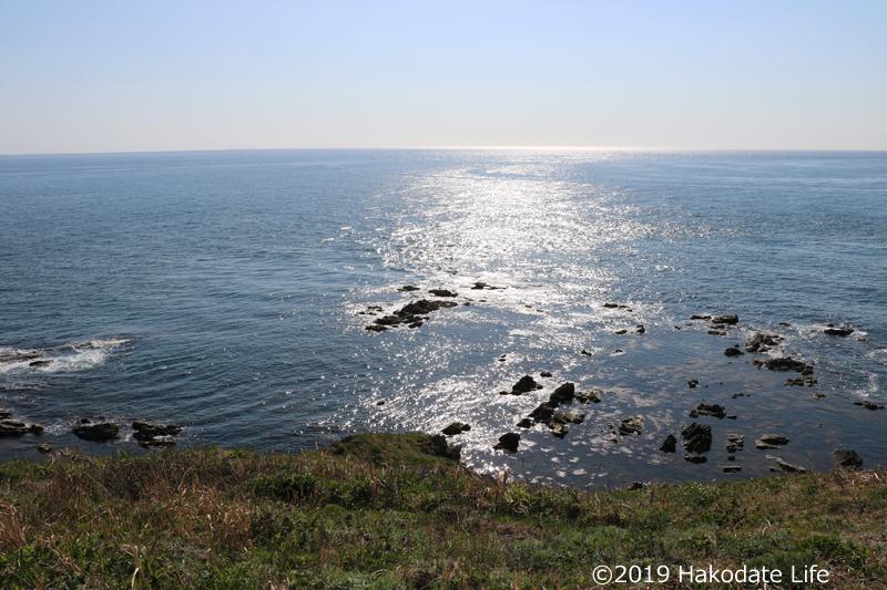 洲根子岬の先端