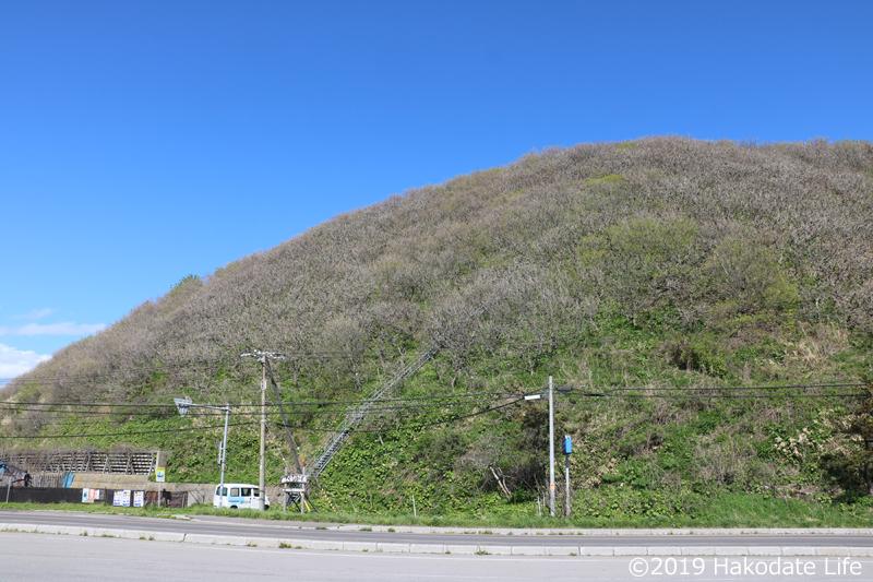繁次郎浜の前の山