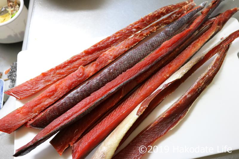 紅鮭の鮭とばの完成
