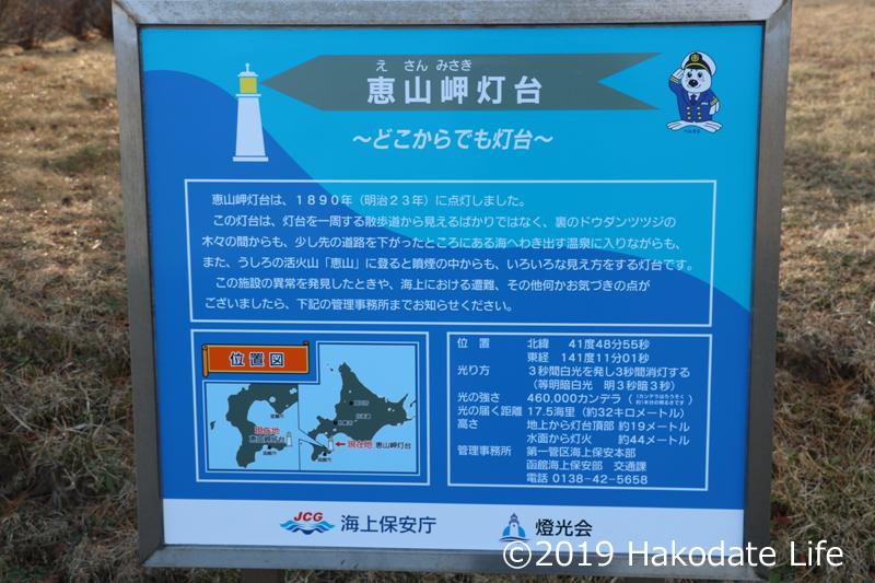 恵山岬灯台の掲示板