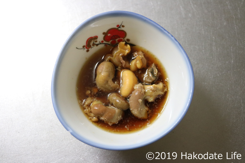 ウロと内臓の醤油煮