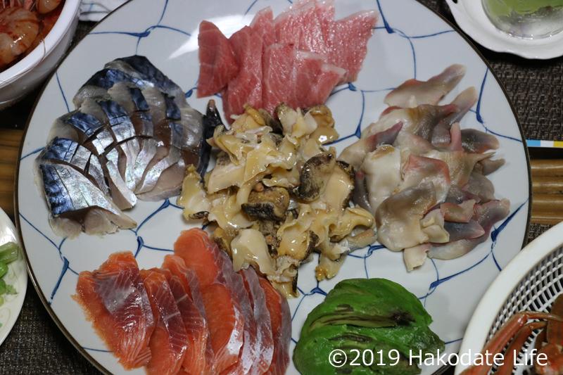 手巻き寿司の刺身ネタ
