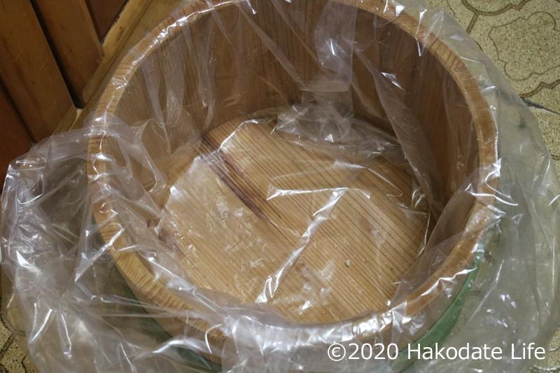 漬物袋を被せる