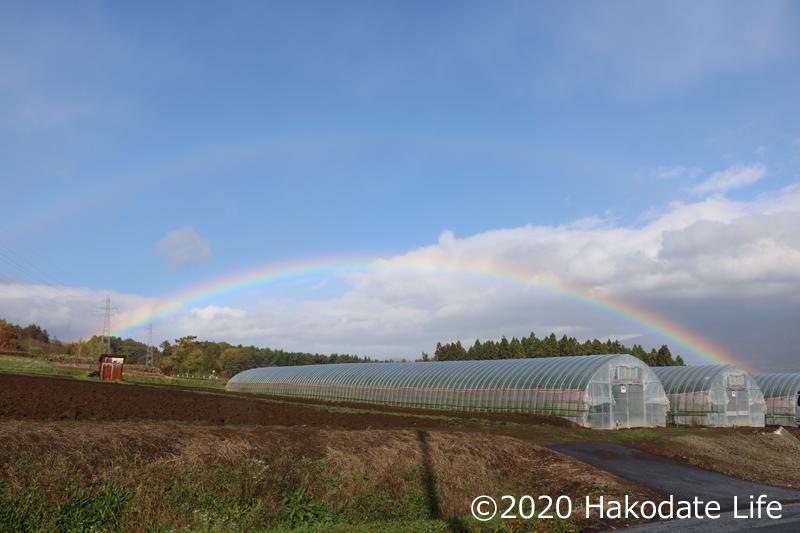 八郎沼からの帰り二重の虹