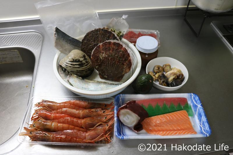 海鮮丼の食材