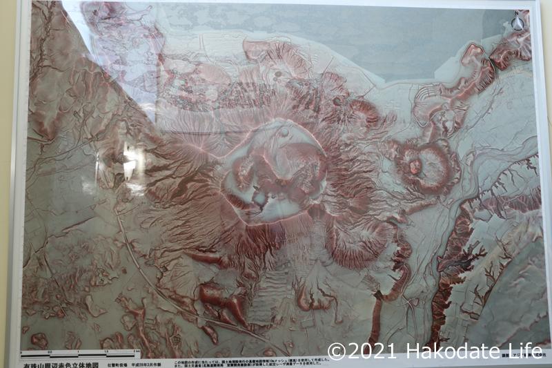 有珠山周辺赤色立体地図